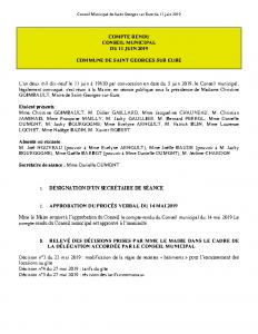 Conseil Municipal de Saint Georges sur Eure du 11 juin 2019