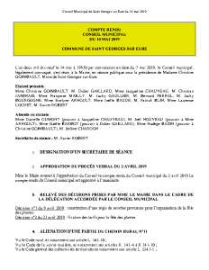 Conseil Municipal de Saint Georges sur Eure du 14 mai 2019