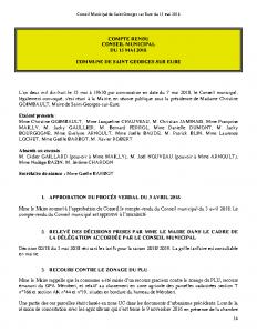 Conseil Municipal de Saint Georges sur Eure du 15 mai 2018