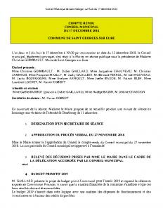 Conseil Municipal de Saint Georges sur Eure du 17 décembre 2018