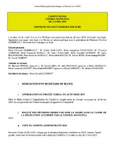 Conseil Municipal de Saint Georges sur Eure du 2 avril 2019