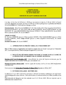 Conseil Municipal de Saint Georges sur Eure du 20 février 2018