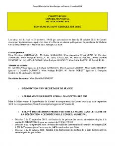 Conseil Municipal de Saint Georges sur Eure du 23 octobre 2018