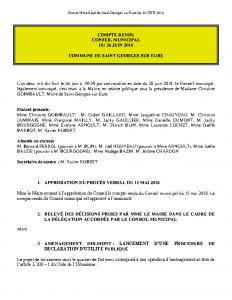 Conseil Municipal de Saint Georges sur Eure du 26 JUIN 2018