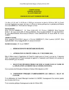 Conseil Municipal de Saint Georges sur Eure du 26 février 2019
