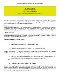 Conseil Municipal de Saint Georges sur Eure du 27 novembre 2018