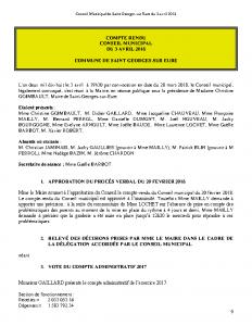 Conseil Municipal de Saint Georges sur Eure du 3 avril 2018