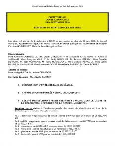 Conseil Municipal de Saint Georges sur Eure du 6 septembre 2018