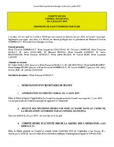 Conseil Municipal de Saint-Gorges-sur-Eure du 02 juillet 2019
