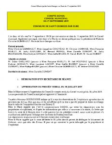 Conseil Municipal du 17 septembre 2019