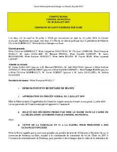 Conseil Municipal du 30 juillet 2019