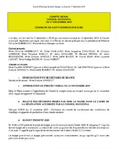 Conseil municipal du 17 décembre 2019
