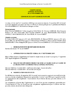 Conseil municipal du 21 novembre 2019